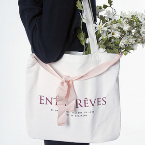 LOGO ECO BAG-PINK RIBBON
